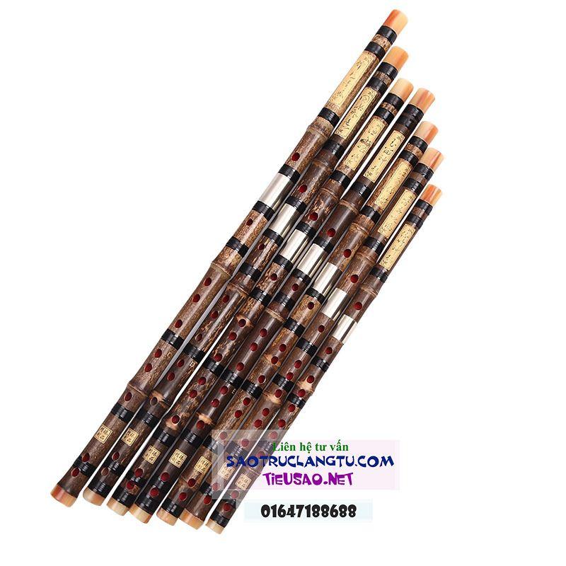 Sáo Dizi trúc tím khớp kép sơn lòng - bộ sáo Tàu